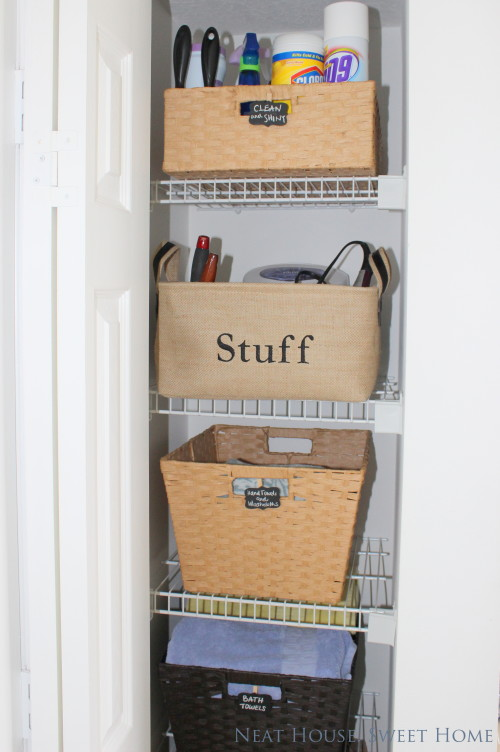 Baskets help you stay organized and can disguise that ugly wire shelving.