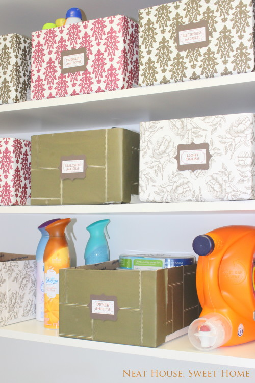 Recycle cardboard boxes and store loose ends in your laundry room closet.