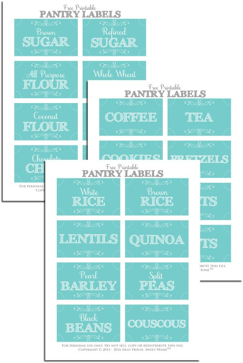 Free Pantry Labels With Aqua Background Neat House Sweet Home