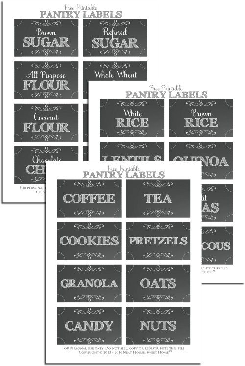 Free Pantry Labels With Chalkboard Background