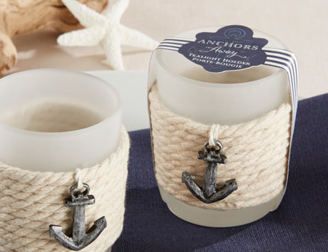 Anchors away rope wrapped votive candles! The perfect favor for a nautical themed bridal shower!