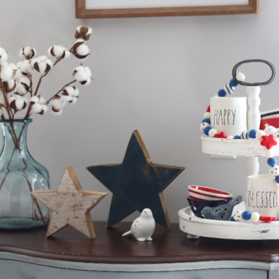 americana patriotic tiered tray decor