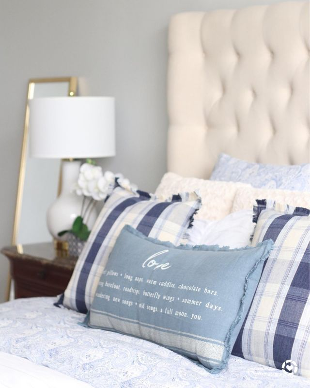 ☀️Summer days may be lazy days, but the key to having a productive day starts with making your bed. Yes, I insist!  💙 and summer days call for blue throw pillows! I am in 'love' with my frayed edge LOVE body pillow!   🌟Happy Saturday!!!   Screenshot this pic to get shoppable product details with the LIKEtoKNOW.it shopping app @liketoknow.it   http://liketk.it/3isUp    #LTKstyletip #LTKhome #LTKSeasonal #masterbedroomdecor #summerdecor #masterbedroom #summerdecorating #summerpillows #realhomesofinstagram #mybhg #bhglivebetter #kirklandsfinds #targetstyle #kirklands #sατυπδαγξhαrεδαζεs #liketkit #mypotterybarn #safaviehhome #safavieh #decorsteals #bhghome #makeyourbed #blueisthewarmestcolor #bluedecor